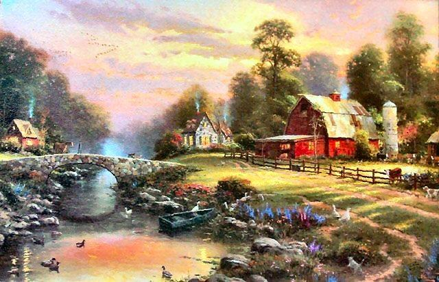 Thomas Kinkade Sunset at Riverbend Farm