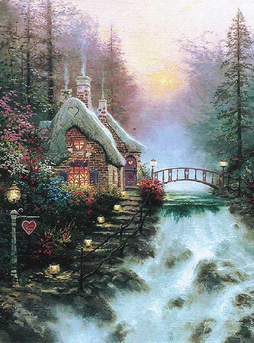 Thomas Kinkade Sweetheart Cottage II