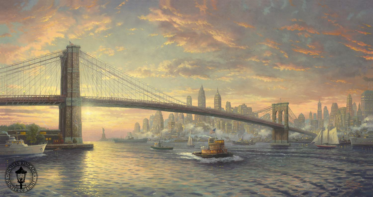 thomas kinkade the spirit of new york painting framed paintings for sale. Black Bedroom Furniture Sets. Home Design Ideas