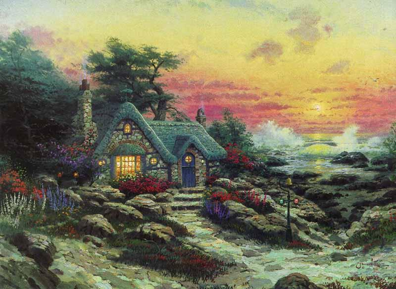 Thomas Kinkade cottage by the sea