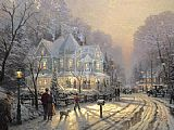 Thomas Kinkade A Holiday Gathering painting