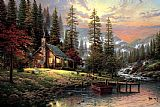 Thomas Kinkade Canvas Paintings - A Peaceful Retreat