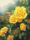 Thomas Kinkade Canvas Paintings - A Perfect Yellow Rose