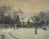 Cottage Canvas Paintings - A Winter's Cottage