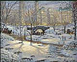 Thomas Kinkade A Winter's Eve painting