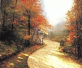 thomas kinkade Canvas Paintings - Autumn Lane