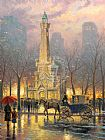 Thomas Kinkade Chicago Water Tower painting