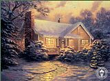 Cottage Canvas Paintings - Christmas Cottage
