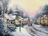 Thomas Kinkade Famous Paintings - Christmas Village