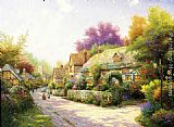 Thomas Kinkade Cobblestone Village painting