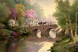 Thomas Kinkade Hometown Bridge painting