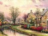 Thomas Kinkade Lamplight Lane painting