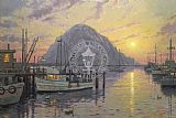 Thomas Kinkade Morro Bay at Sunset painting