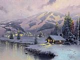 Thomas Kinkade Olympic Mountain Evening painting