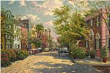 Thomas Kinkade Rainbow Row,Charleston painting