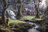Thomas Kinkade Famous Paintings - Snow White discovers the cottage