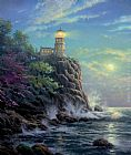 Thomas Kinkade Split Rock Light painting