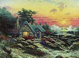 Cottage Canvas Paintings - cottage by the sea