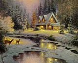 Cottage Canvas Paintings - deer creek cottage I
