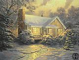 Thomas Kinkade xmas cottage painting