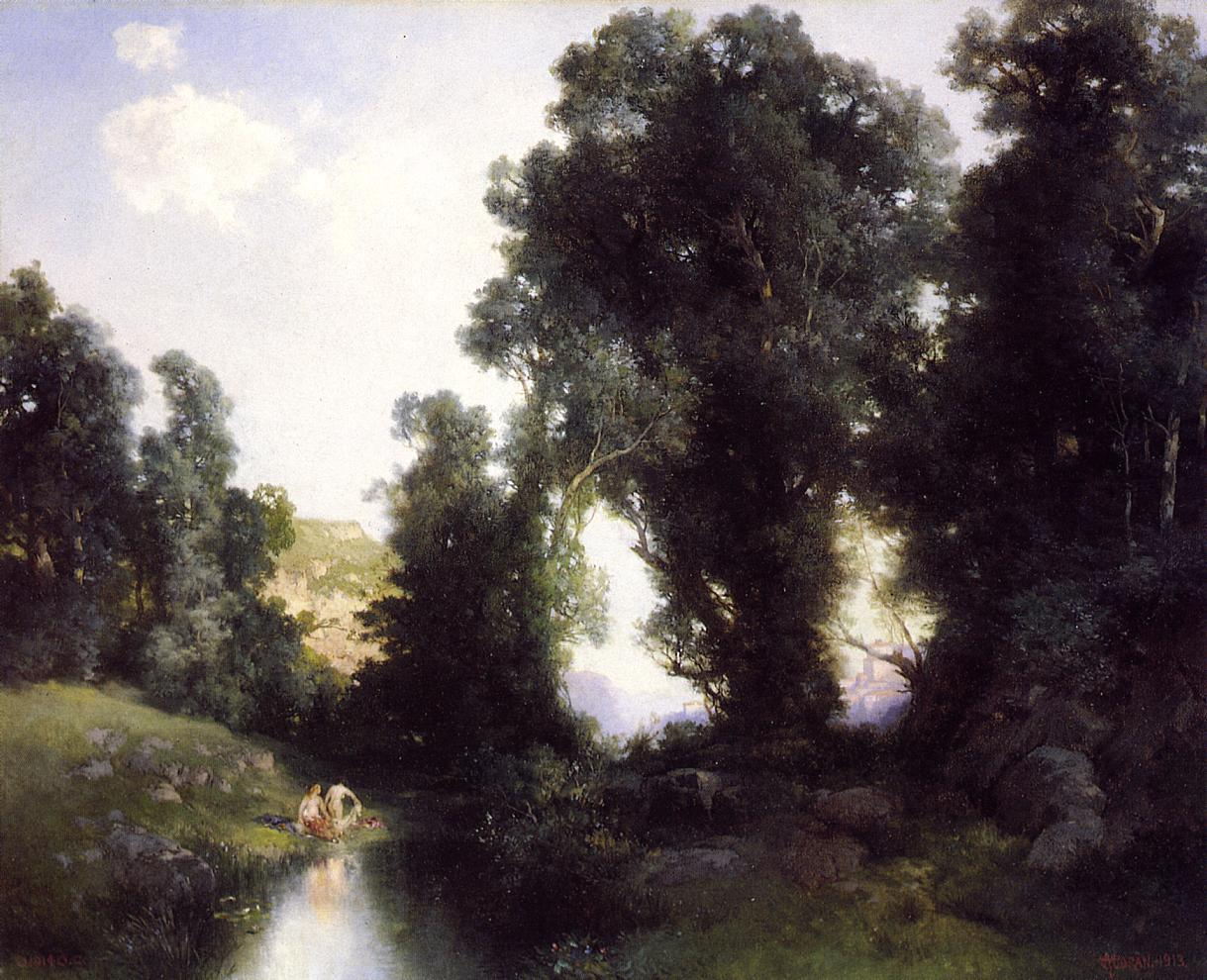 Thomas Moran The Bathing Hole, Cuernavaca, Mexico
