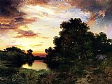 Thomas Moran Sunset on Long Island painting