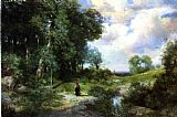 Famous Island Paintings - Young Girl in a Long Island Landscape