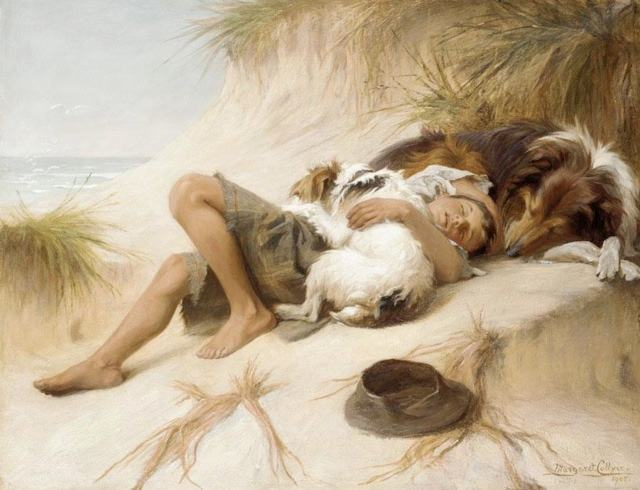 Unknown Artist Margaret Collyer Young Boy Asleep with Dogs