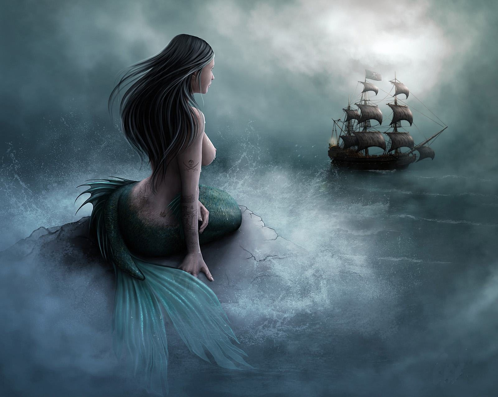Unknown Artist Mermaid and pirate ship