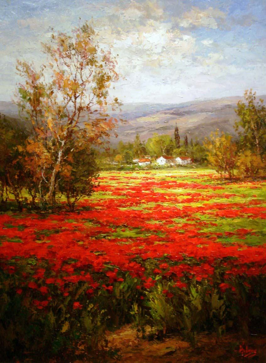Unknown Artist Poppy Field Splendid Pathway