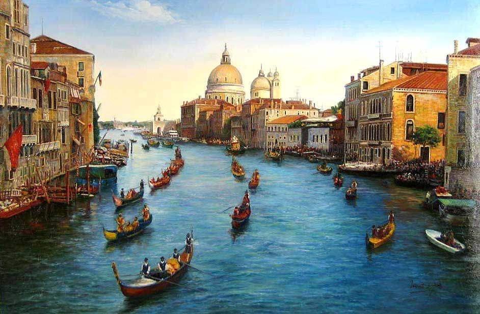 Unknown Artist Venice Grand Canal painting   framed paintings for sale