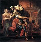 Van Canvas Paintings - Aeneas Carrying Anchises by Carl van Loo