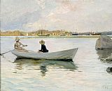 Famous Boats Paintings - Boats in Harbour by Albert Edelfelt