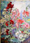 Unknown Artist Campbell Hollyhocks painting
