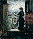Famous Lady Paintings - Lady on a Balcony by Albert Edelfelt