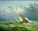 Unknown Artist Lowestoft Trawler in Rough Weather painting
