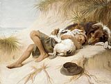 Famous Boy Paintings - Margaret Collyer Young Boy Asleep with Dogs