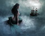 Mermaid and pirate ship