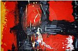 Unknown Artist Red Abstract painting