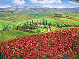 Famous Poppies Paintings - TUSCANY POPPIES