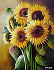 Unknown Artist Canvas Paintings - The SunFlowers