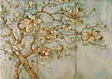 Unknown Artist White Magnolia Triptych painting