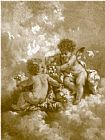 Famous Charles Paintings - charles lutyens cherubs making posies