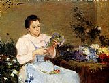 Victor Gabriel Gilbert - Arranging Flowers For A Spring Bouquet