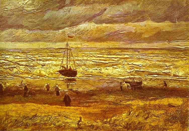 Vincent van Gogh Beach with Figures and Sea with a Ship