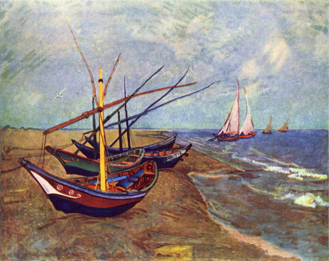 Vincent van Gogh Fishing Boats on the Beach at Saints-Maries