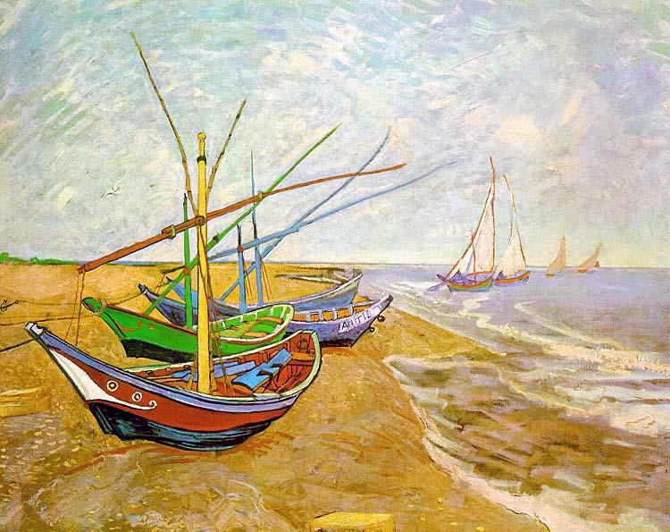 Vincent van Gogh Fishing Boats on the Beach