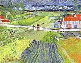 Famous Road Paintings - A Road in Auvers after the Rain