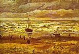 Vincent van Gogh Beach with Figures and Sea with a Ship painting