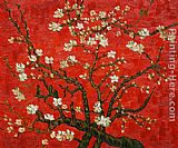 Famous Red Paintings - Branches of an almond tree in Blossom in Red